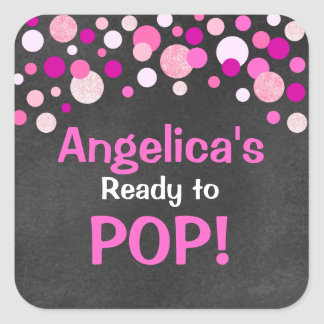 Personalized Ready to Pop Baby Shower Hot Pink Square Sticker