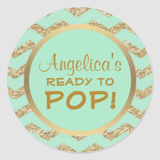 Personalized Ready to Pop Baby Shower Mint Gold Classic Round Sticker