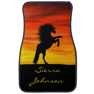 Personalized Rearing Black Horse at Sunset Car Mat