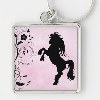 Personalized Rearing Horse Keychain