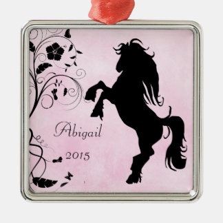 Personalized Rearing Silhouette Horse Pink Black Metal Ornament