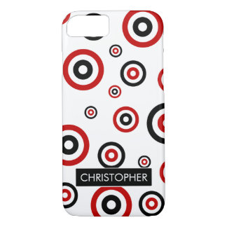 Personalized Red and Black Retro circle pattern iPhone 7 Case