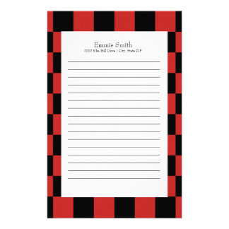 Personalized Red and Black with White Checkered Stationery