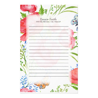 Personalized Red and Blue Floral and Butterflies Stationery