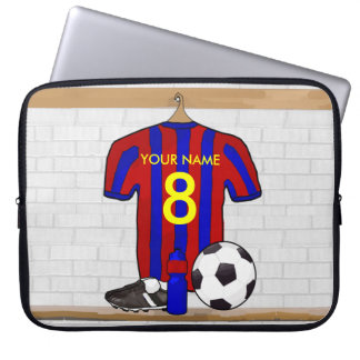 Personalized Red and Blue Football Soccer Jersey Computer Sleeve