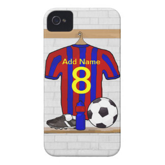Personalized Red and Blue Football Soccer Jersey iPhone 4 Case