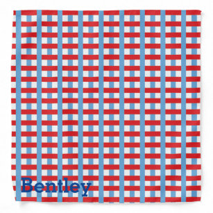 Personalized Red and Blue Gingham Plaid Bandana