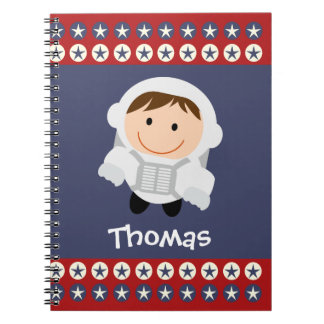 Personalized Red and Blue Stars Astronaut Spiral Notebook