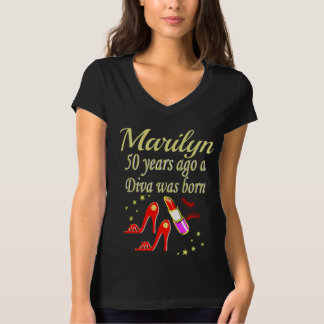 PERSONALIZED RED AND GOLD 50TH BIRTHDAY T SHIRT