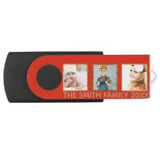 Personalized Red and Gold Three Photo Frame USB Flash Drive