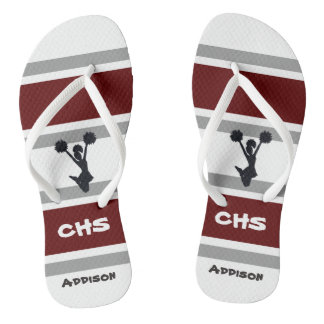 Personalized Red and Gray Cheerleader Flip Flops Thongs