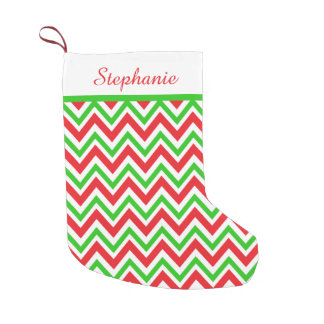Personalized Red and Green Chevron Christmas Small Christmas Stocking