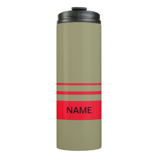 Personalized Red and Green Stripes Thermal Tumbler