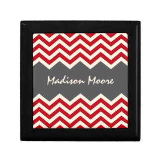 Personalized red and grey chevron pattern gift box