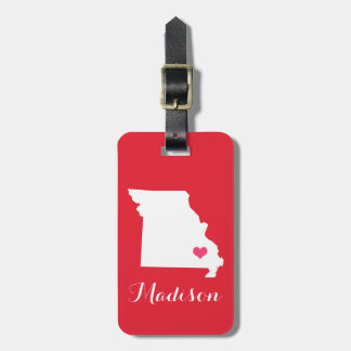 Personalized Red and Pink Heart Missouri State Luggage Tag