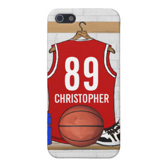 Personalized Red and White Basketball Jersey iPhone 5/5S Case