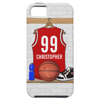 Personalized Red and White Basketball Jersey iPhone 5 Cover