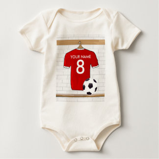 Personalized Red and White Football Soccer Jersey Baby Bodysuit