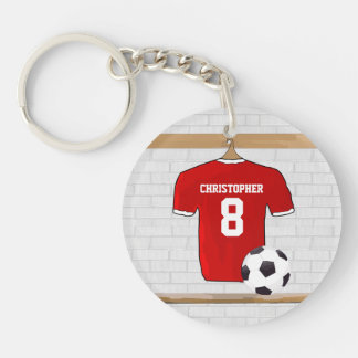 Personalized Red and White Football Soccer Jersey Double-Sided Round Acrylic Key Ring
