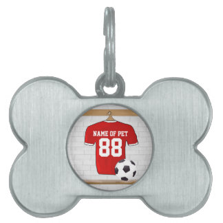 Personalized Red and White Football Soccer Jersey Pet Name Tag
