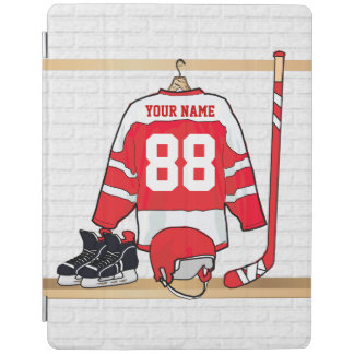 Personalized Red and White Ice Hockey Jersey iPad Cover