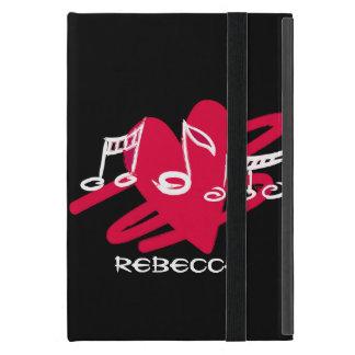 Personalized Red and white love music design iPad Mini Cover