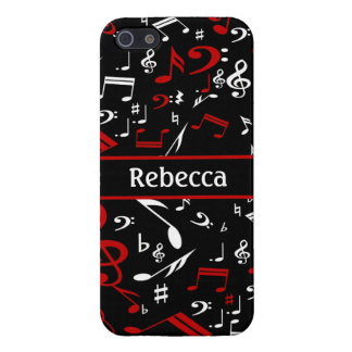 Personalized Red and white Musical notes on black iPhone 5 Cover