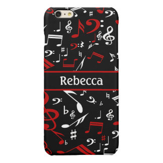 Personalized Red and white Musical notes on black Glossy iPhone 6 Plus Case