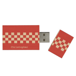 Personalized Red and white racing checks Wood USB 2.0 Flash Drive