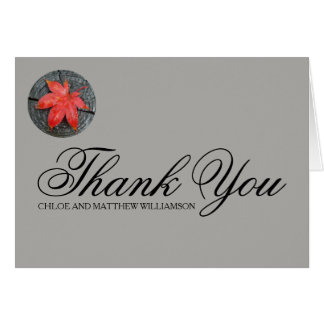 Personalized Red Autumn Leaf Thank You Notes