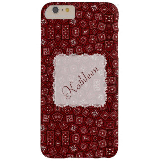 Personalized Red Bandana and White Lace Barely There iPhone 6 Plus Case