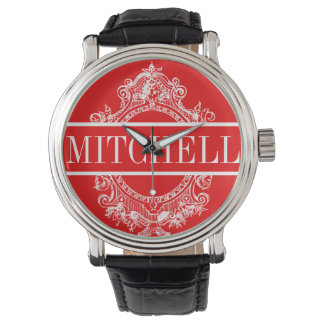 Personalized Red Baroque Wristwatches