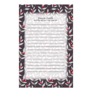 Personalized Red Berries Gray Leaves on Black Stationery