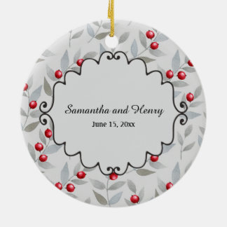 Personalized Red Berries Gray Photo Wedding Date Ceramic Ornament