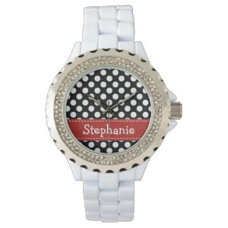 Personalized Red Black and White Polka Dot Watch
