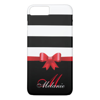 Personalized RED, Black Bold Stripes RED BOW iPhone 8 Plus/7 Plus Case