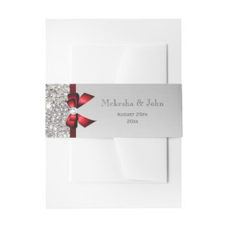 Personalized Red Bow & Diamonds Wedding Invitation Belly Band