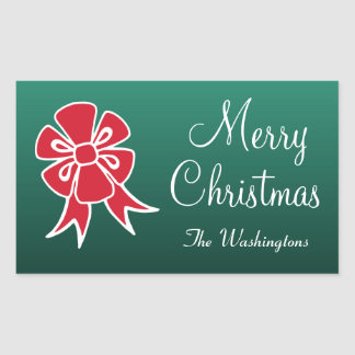 Personalized Red Bow Merry Christmas Stickers