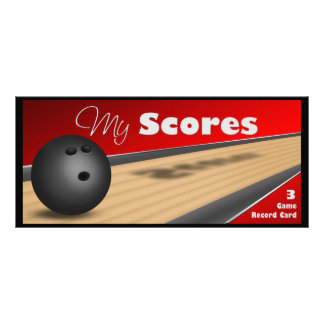 Personalized Red Bowling Score Cards Rack Cards