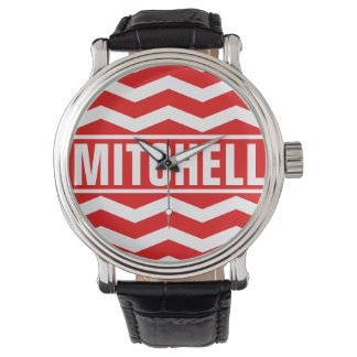 Personalized Red Chevron BFC Watch