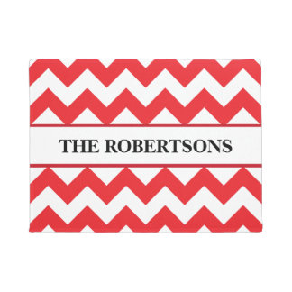 Personalized Red Chevron Doormat