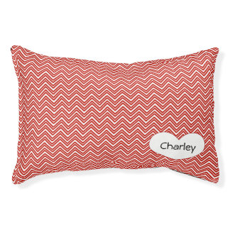 Personalized Red Chevron Pet Bed