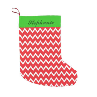 Personalized Red Chevron with Green Christmas Small Christmas Stocking