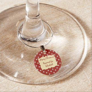 Personalized Red Christmas reserved for Wine Charm