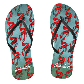 Personalized Red Crawfish Thongs