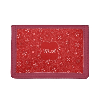 Personalized Red Crop Circle Tri-fold Wallet