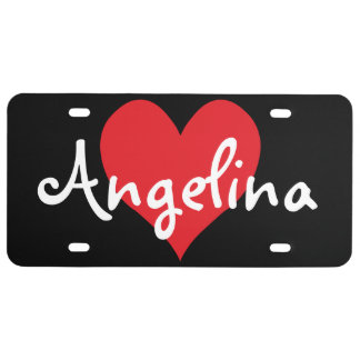 Personalized Red Cute Heart Shape License Plate