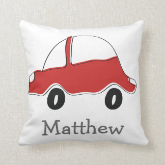 Personalized red doodle toy car throw pillow