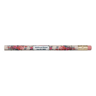 Personalized Red Floral Wedding Favor Pencil