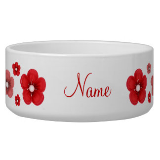 personalized Red Flower Dog Bowl